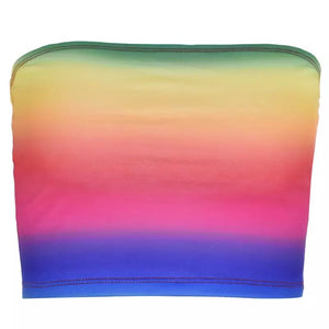 Rainbow Rain Crop Tube Top