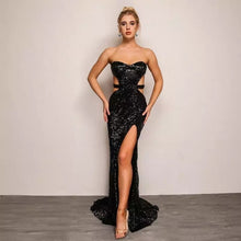 Load image into Gallery viewer, Shine Bright Strapless Open Back Sequined Gown