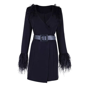 Daphne Fur Coat Buckled Dress