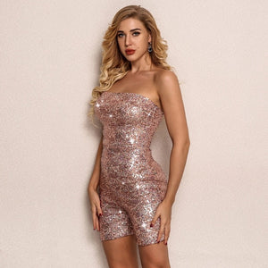 Sweet Baby Girl Sequin Glitter Strapless Jumpsuit
