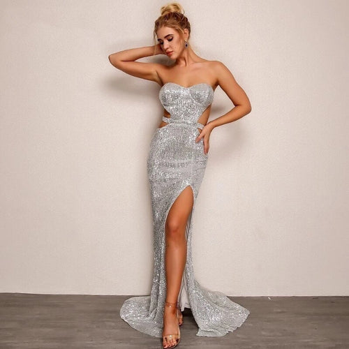 Shine Bright Strapless Open Back Sequined Gown