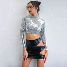 Load image into Gallery viewer, Star light Star Bright Sequin Long Sleeve Crop Top