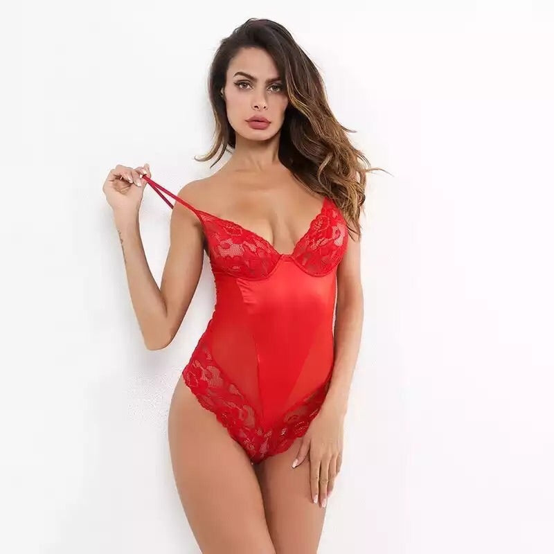 Be Mine Lace Red Bodysuits