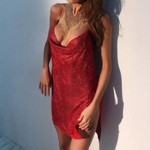 Red & Dangerous Chained Metal Mesh Dress