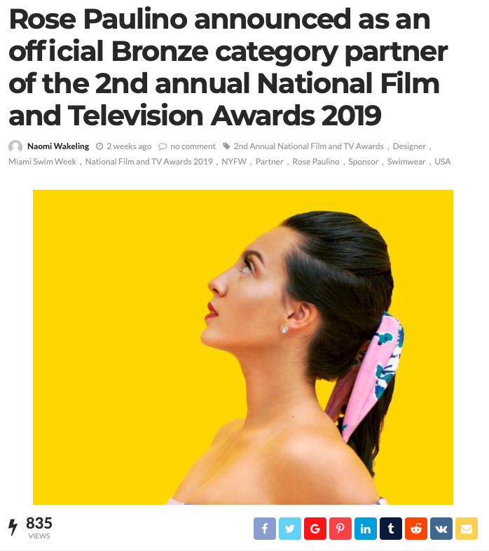 Rose Paulino announced as an official Bronze category partner of the 2nd annual National Film and Television Awards 2019