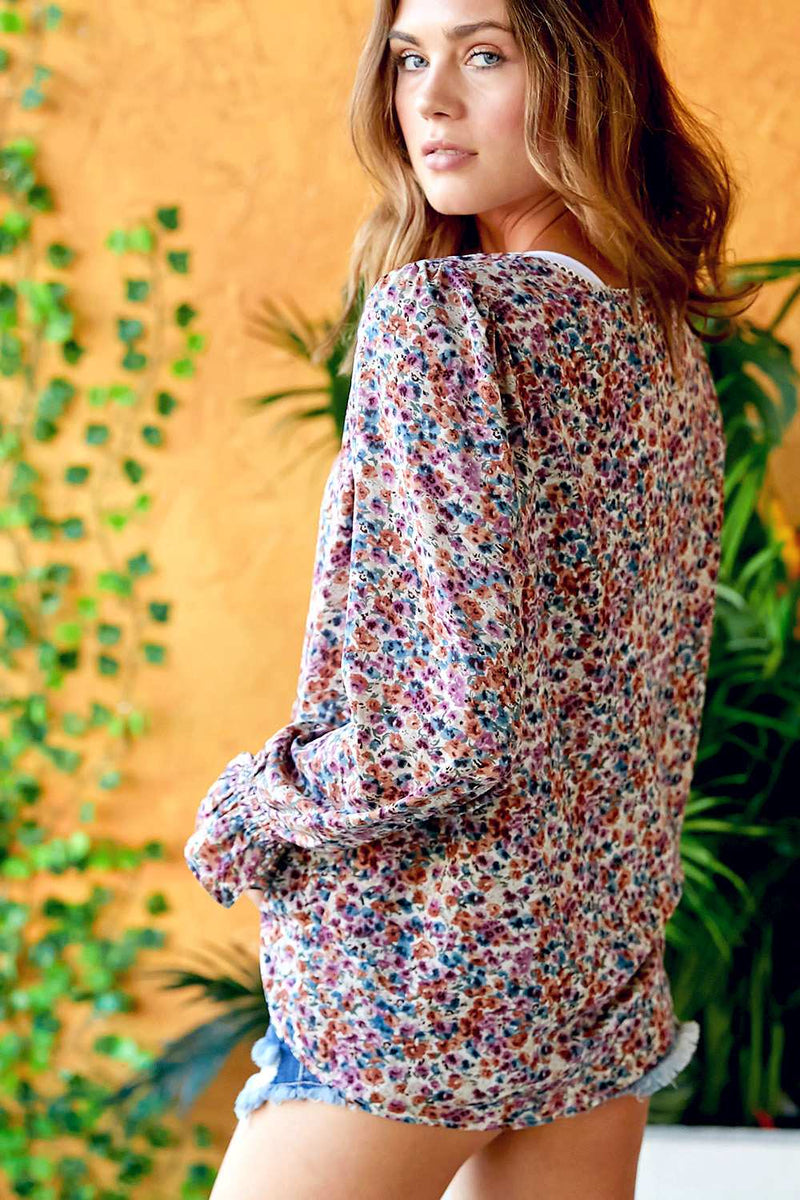 Lucy - Floral Printed Long Sleeve  V Neck Top