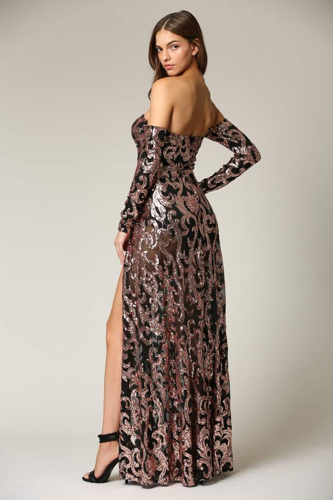 Lesha - A sequin dress featuring baroque pattern detailing