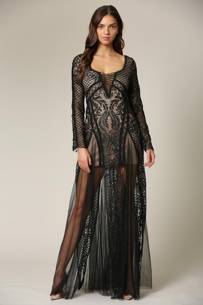 Millaray - A long, glitter embellished Dress