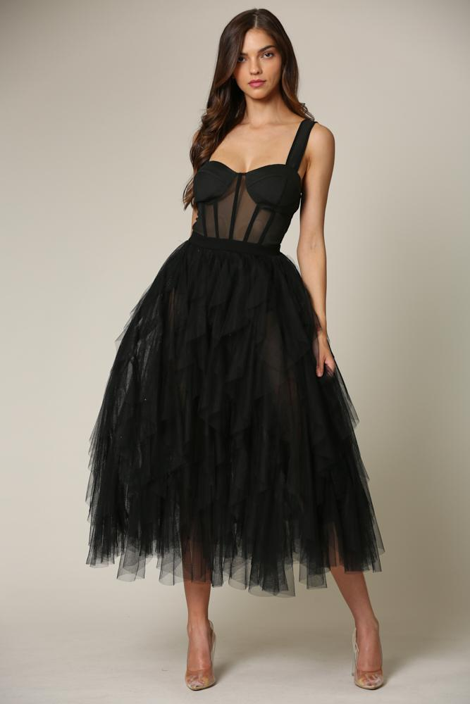 Bobby - A dress featuring a corset mesh waist with boning detail