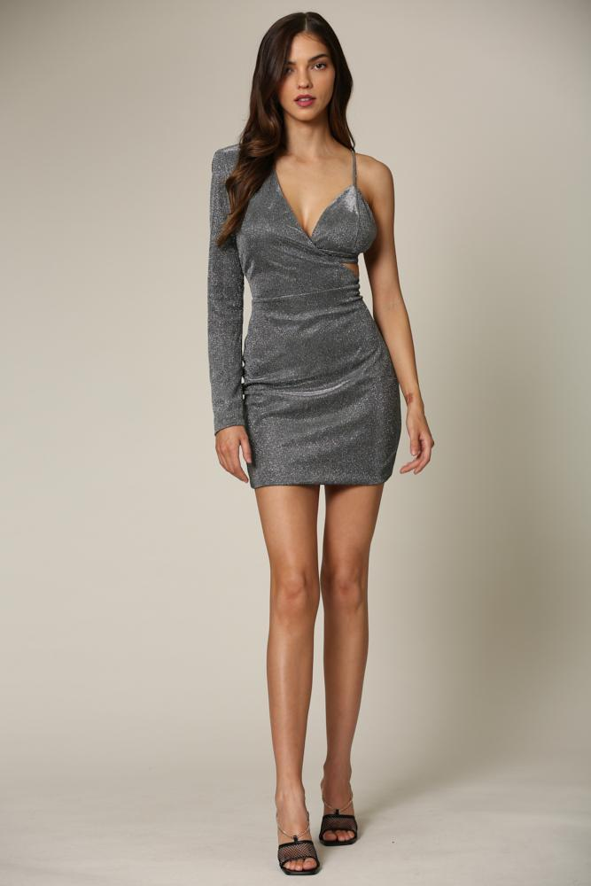 Lerina - A metallic knit dress featuring a one-shoulder bodice with a separate bralette