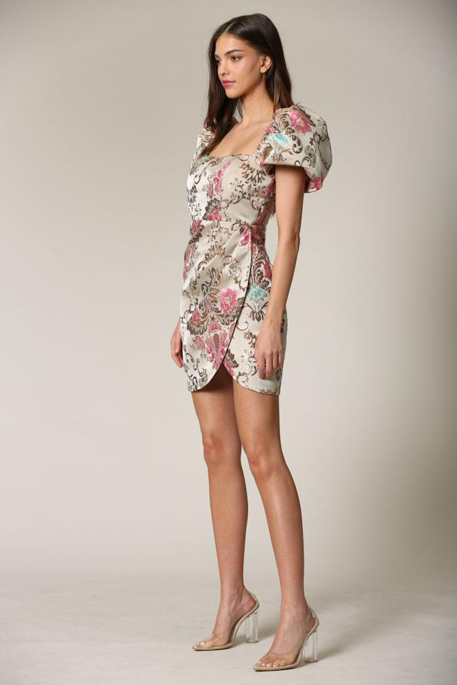Doly - A jacquard dress featuring lux, floral baroque embroidery detailing