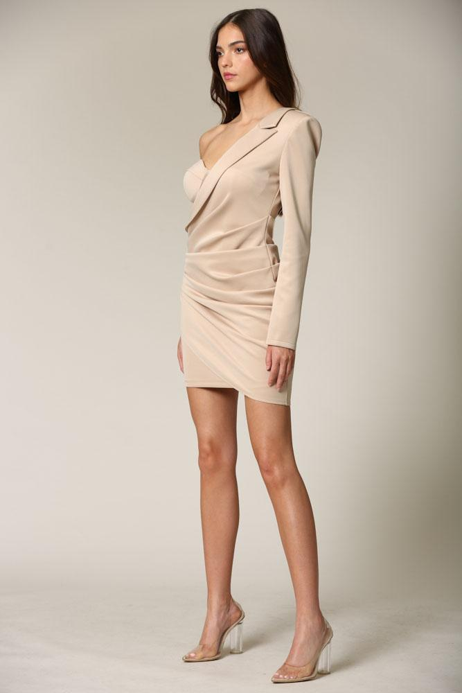 Jacey - A stretch knit blazer dress featuring a one-shoulder