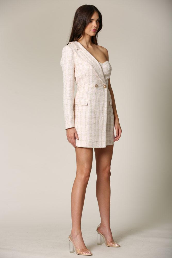Evolet - A tweed blazer dress featuring gold lurex threading all throughout