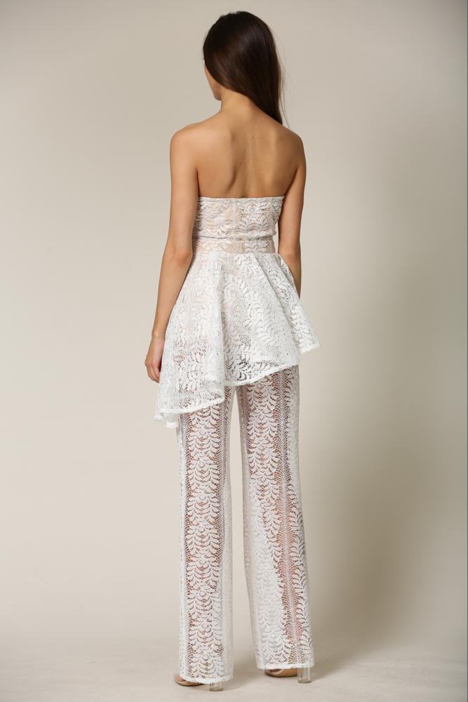 Cierra - A lace jumpsuit featuring leaf embroidery detailing