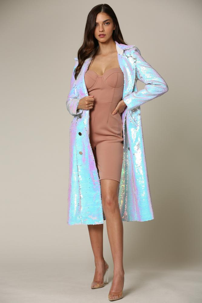 Ceyla -Halographic Sequin Trench Coat