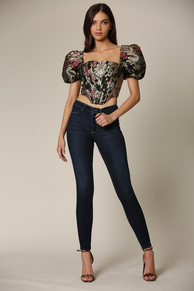 Aiyanna - A luxe jacquard top featuring a square neckline