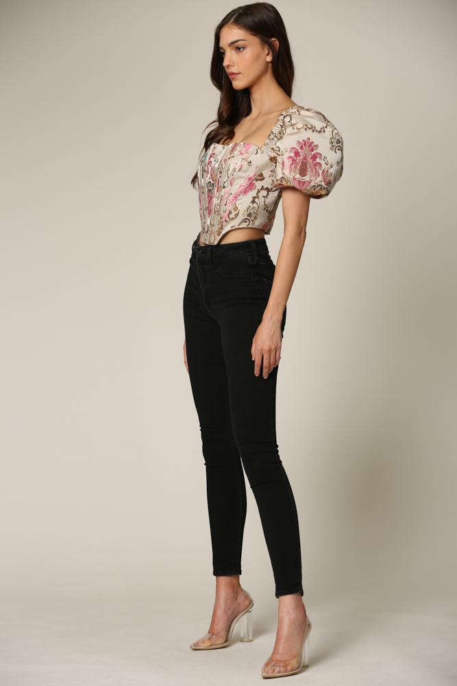 Kevlyn - A luxe jacquard top featuring a square neckline