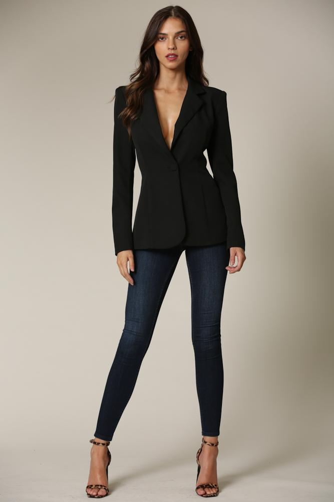 Dyan - Black Lace Up Blazer