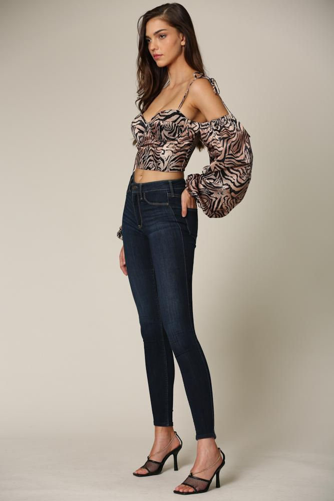 Martina - A top featuring a tiger print pattern
