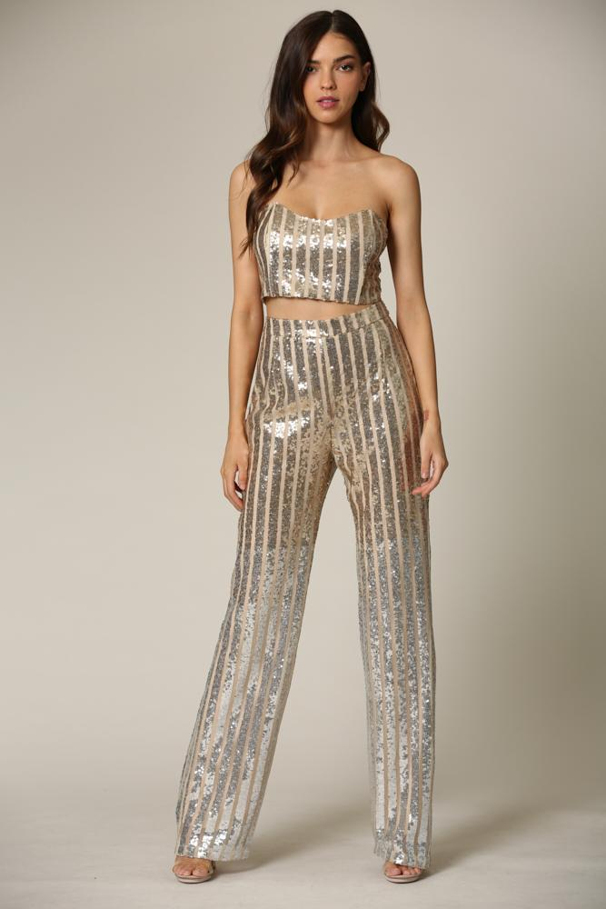 Emmly - A sequin top + pant set featuring striped gold