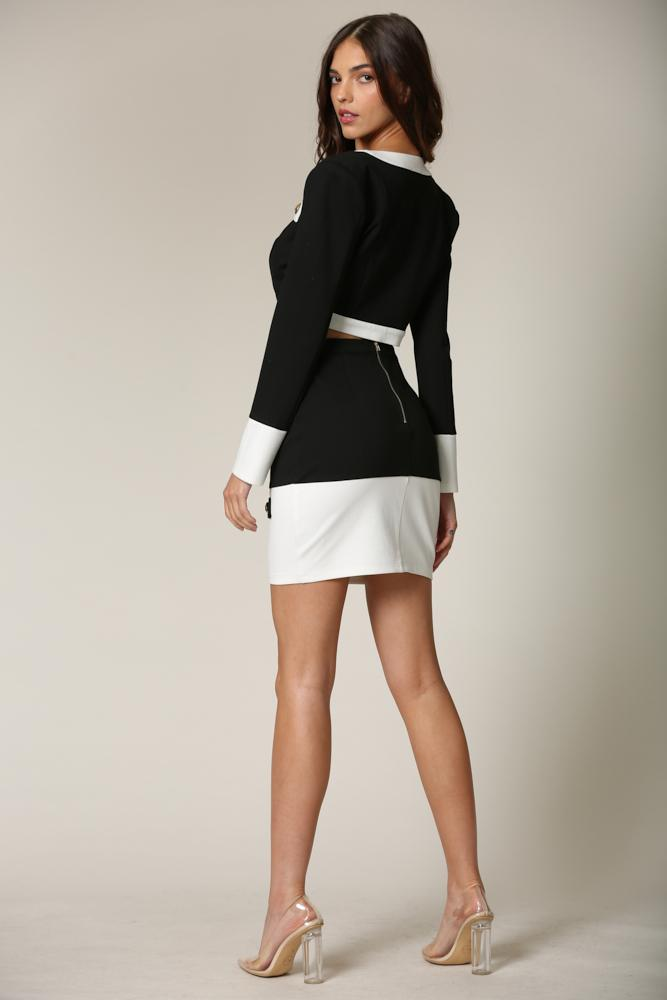 Clora - A top + skirt set featuring contrast detailing all throughout