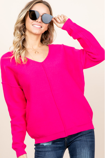 Valery- Hot Pink Fall Sweater