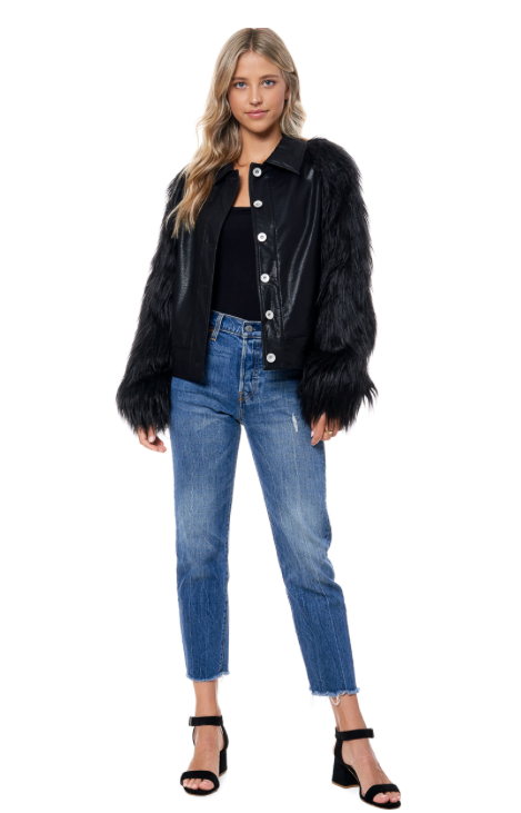 Farah Faux Fur Sleeves Jacket