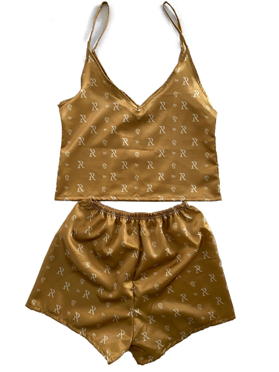 Esme - Women's Gold Silk Pajamas Set
