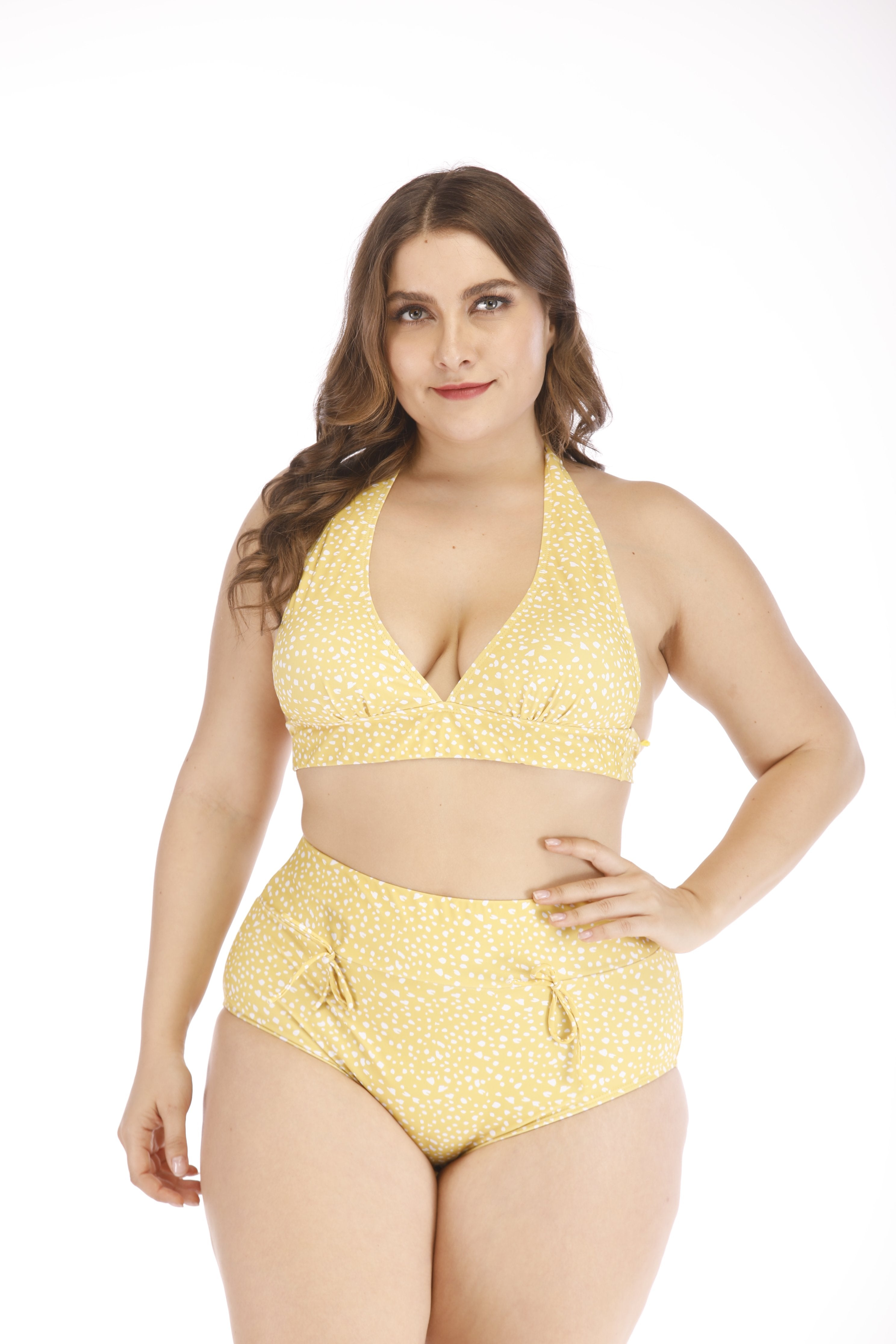 Elizabeth- Womens Yellow Plus Size Two Piece Set
