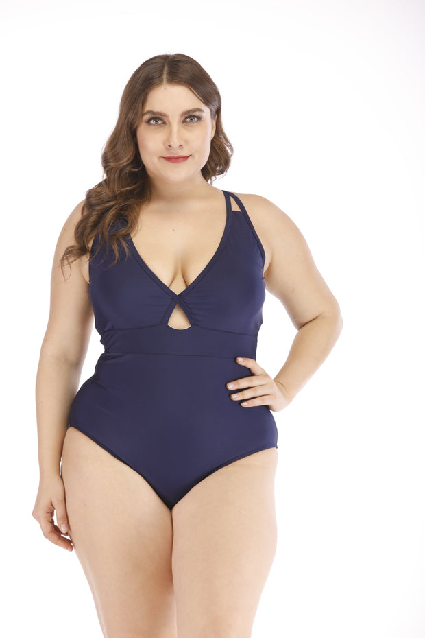 Charlie- Womens Low V Navy Blue Plus Size Two Piece Set 1