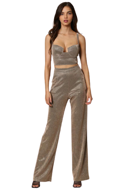 Ashley Sparkly Metallic Top and Pant Set
