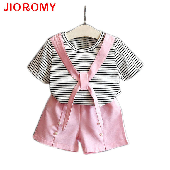 Summer New Girls Set Striped Short Sleeve T-Shirt + Shorts Two-piece Suit