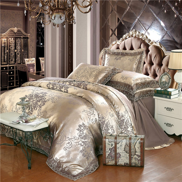 White and Silver Silk Lace Luxury Duvet Set with cover Fitted/bed sheet sets