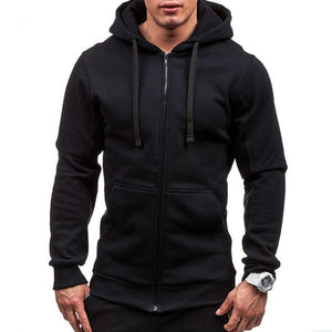 Techy, Body fit Male Cardigan, Full Zip with Hoodie