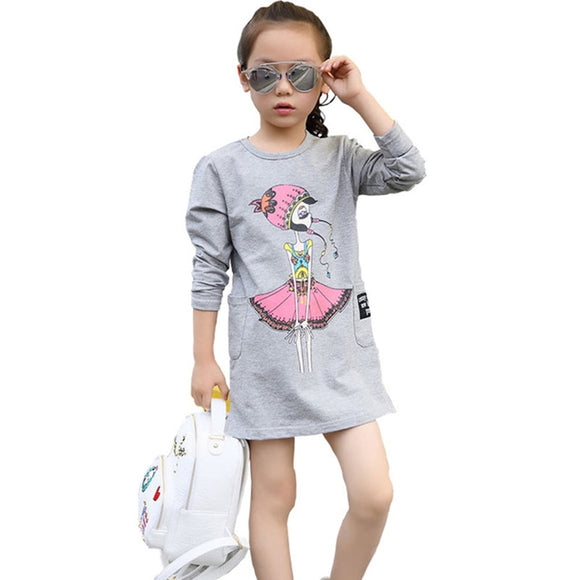 Girls' Mini Cotton Letter Patterned Long Sleeve Print Dresses