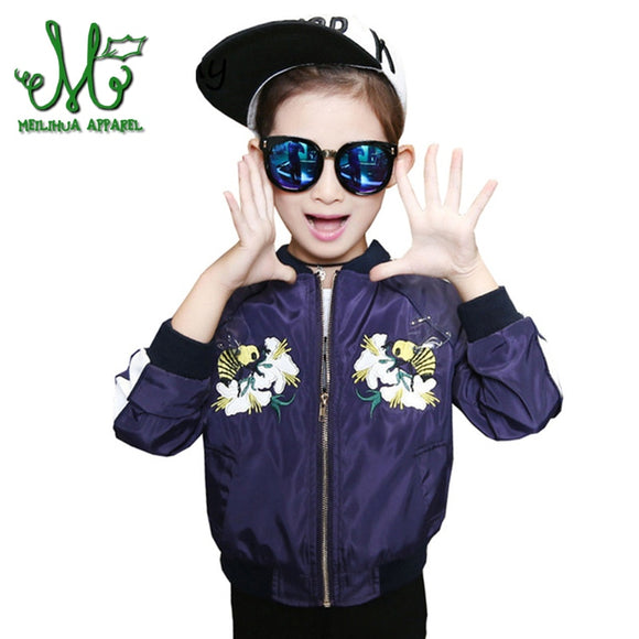 6-14 Years Girls Spring Autumn Flower Embroidery  Jacket