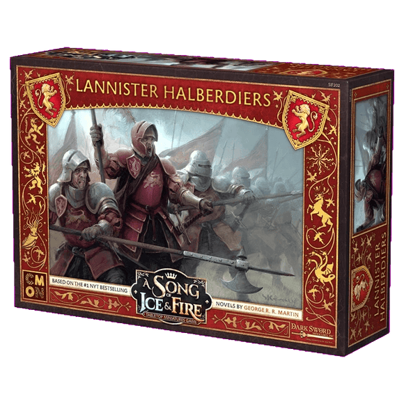 Front cover of the box of A Song of Ice & Fire Lannister Halberdiers
