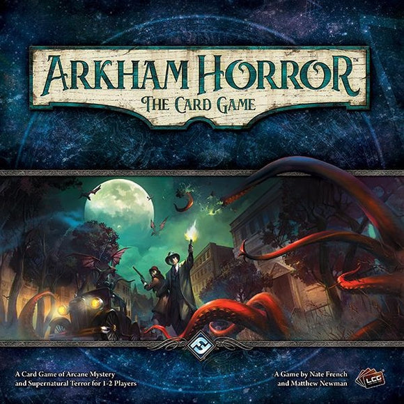 Front cover of the box of Arkham Horror: The Card Game
