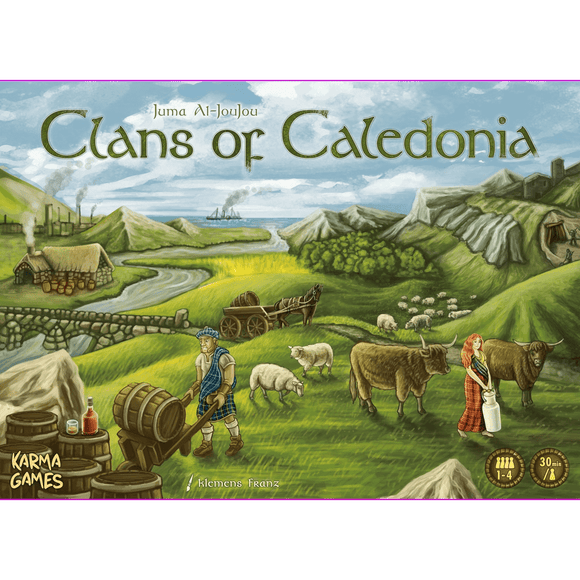 Front cover of the box of Clans of Caledonia EN/DE