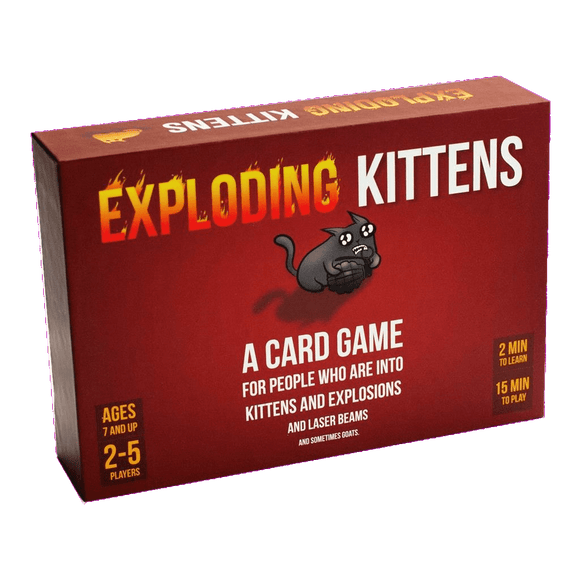 Front cover of the box of Exploding Kittens