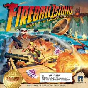 Front cover of the box of Fireball Island: Wreck of the Crimson Cutlass Expansion