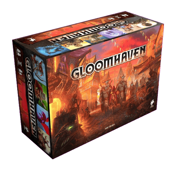 Front cover of the box of Gloomhaven