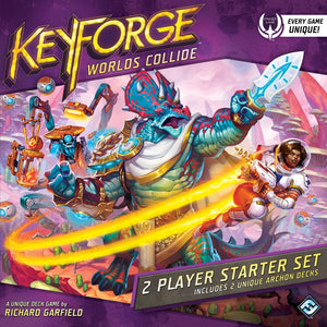 Front cover of the box of KeyForge: Worlds Collide 2 Player Starter Set