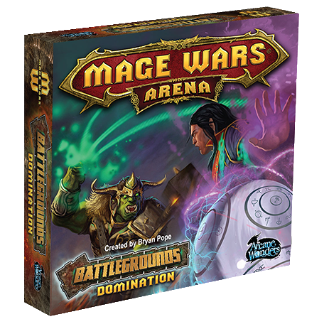 Front cover of the box of Mage Wars Arena Battlegrounds Domination