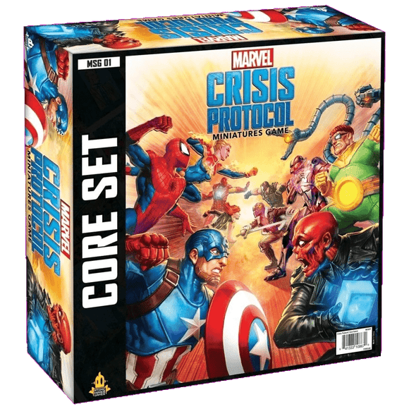 Front cover of the box of Marvel Crisis Protocol Core Set
