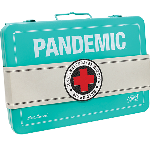Front cover of the box of Pandemic 10th Anniversary Edition