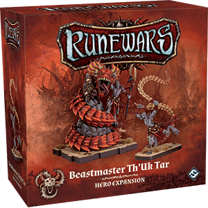 Front cover of the box of RuneWars Beastmaster Th'Uk Tar Hero Expansion