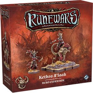 Front cover of the box of RuneWars Kethra A'laak Hero Expansion