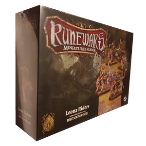 Front cover of the box of RuneWars Leonx Riders Unit Expansion