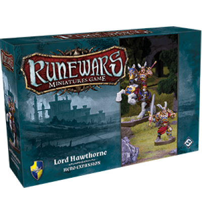 Front cover of the box of RuneWars Lord Hawthorne Hero Expansion